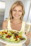 fresh glass holding salad wine woman Στοκ φωτογραφία με δικαίωμα ελεύθερης χρήσης