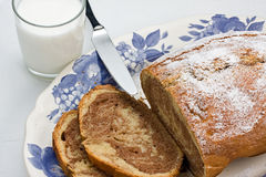 Milk and Plumcake Royalty Free Stock Photo