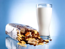 Fresh Glass of Milk and Opened Pack of muesli Royalty Free Stock Photography