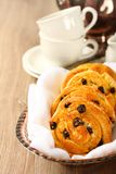 Fresh gluten free sweet swirl buns with raisins Royalty Free Stock Photo