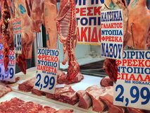 Fresh Goat Meat, Athens Markets stock image