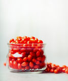 Fresh Goji berries in glass jar on light background Stock Image
