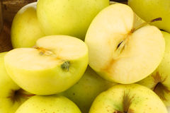 Fresh Golden Delicious apples Stock Photo