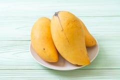 Fresh and golden mangoes. On wood background royalty free stock photo