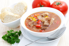 Fresh goulash with baguette Royalty Free Stock Image