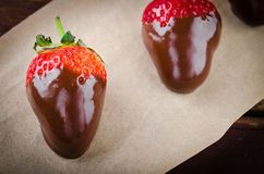 Fresh gourmet chocolate covered strawberries. For Valentine's Day royalty free stock image