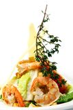 Fresh gourmet salad from shrimps and green Royalty Free Stock Photos