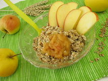 Fresh grain muesli with apple Royalty Free Stock Image
