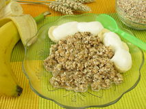 Fresh grain muesli with banana and yoghurt Stock Image