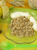 Fresh grain muesli with banana and yoghurt Stock Photo
