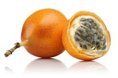 Fresh granadilla passion fruit isolated. On white background stock photo
