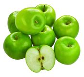 Fresh Granny Smith apples. Fresh green Granny Smith apples isolated over white Royalty Free Stock Image