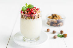 Fresh granola with vanilla cream with pomegranate and mint Royalty Free Stock Photos