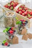 Fresh granola with yogurt and fruits Stock Photo