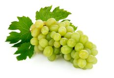 Fresh grape fruits with green leaves Stock Images