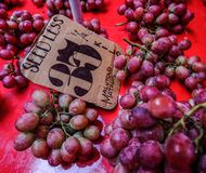 Fresh grape for sale at rural market royalty free stock image
