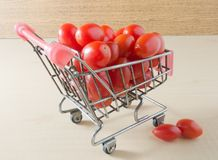 Fresh Grape Tomatoes on A Small Shopping Cart Royalty Free Stock Image