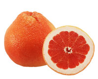 Fresh grapefruit fruit with cut. Red fresh grapefruit fruit with cut isolated on white background stock images