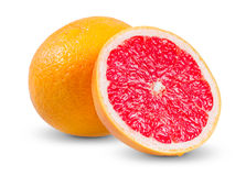 Fresh Grapefruit with juicy slice isolated on Stock Images