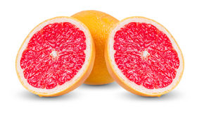 Fresh Grapefruit with juicy slices isolated on Stock Photography