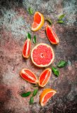Fresh grapefruit with leaves stock photo