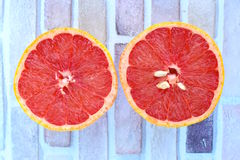 Fresh grapefruit. Fresh slice of ripe grapefruit. Top view Royalty Free Stock Photography