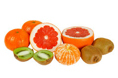 Fresh grapefruit, tangerine and kiwi Royalty Free Stock Image