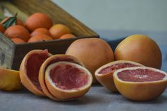 Fresh grapefruits and mandarins on gray background stock images