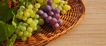 Fresh grapes. Bunches of red and green fresh grapes in a basket on bamboo background Stock Photos