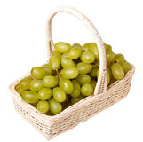 Fresh grapes in a basket (isolated). Fresh grapes in a basket isolated on white background Stock Photography