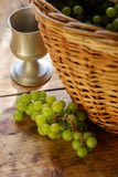 Fresh grapes in basket Stock Photography