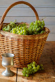 Fresh grapes in basket Royalty Free Stock Photo