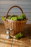 Fresh grapes in basket Royalty Free Stock Photography