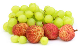 Fresh grapes with lychee. On white background Stock Photo