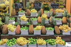 Fresh grapes pineapples and Brussels sprouts on the grocery store in the supermarket stock image