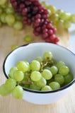 Fresh Grapes in White Bowl Stock Photo