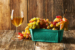 Fresh grapes and white wine Stock Photo