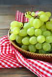 Fresh grapes in a wicker basket Royalty Free Stock Photography