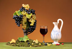 Fresh grapes and wine in a glass Stock Images