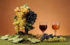 Fresh grapes and wine in a glass Stock Photo