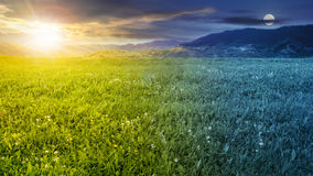 Free Fresh Grass Meadow Near The Mountains Day And Night Royalty Free Stock Photo - 61451695