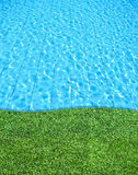 Fresh grass beside the swimming pool Stock Images