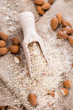 Fresh grated Almonds. (detailed close-up shot) on wooden background Stock Image