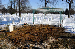 Fresh grave at Arlington Cemetery Stock Photos