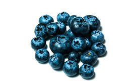 Fresh great bilberries or blueberries isolated on Stock Images