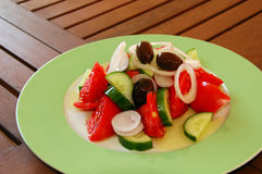 Fresh greek salad. Delicious serving of fresh greek salad Stock Photography
