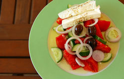 Fresh greek salad. Delicious serving of fresh greek salad Royalty Free Stock Photos