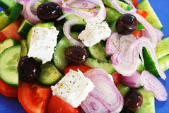 Fresh greek salad. Fesh greek salad - extreme depth of field and sharpness Royalty Free Stock Images