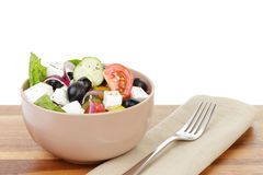 Fresh greek salad in clay bowl Stock Images