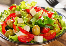 Fresh greek  salad with feta Stock Photo